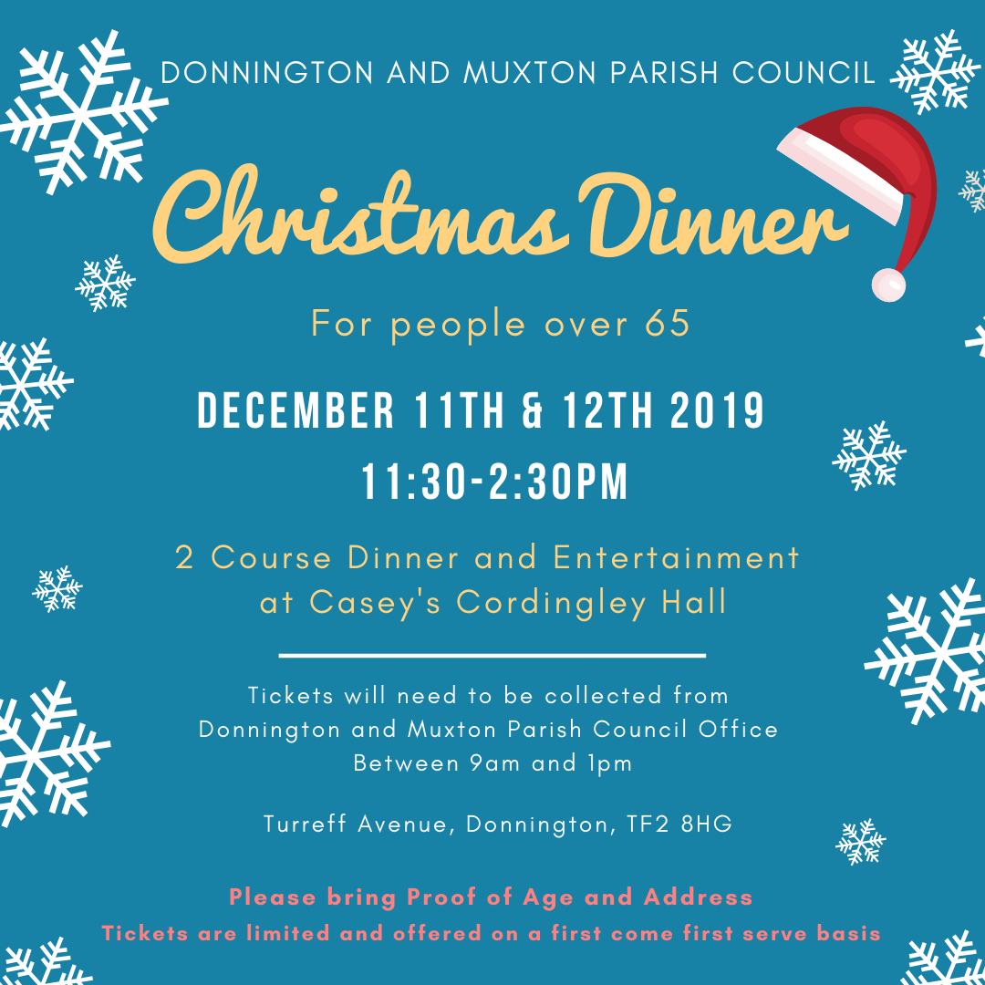 Christmas Dinner for over 65's flyer